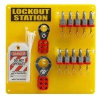 "Brady 10-Lock Board with Brady 3/4"" Steel Padlocks"