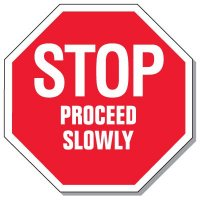 Giant Security Signs - Stop Proceed Slowly