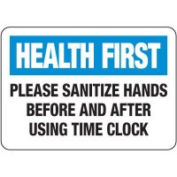 Sanitize Hands Before & After Using Time Clock Signs