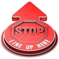 Stop Line Up Here Outdoor 3D Floor Sign - Red
