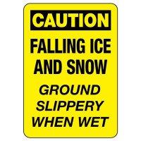 OSHA Caution Sign: Falling Ice & Snow - Ground Slippery When Wet
