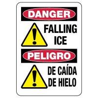Bilingual OSHA Danger Sign: Falling Ice / Peligro De Caída De Hielo