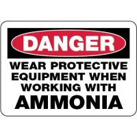 Danger Sign: Wear Protective Equipment When Working With Ammonia
