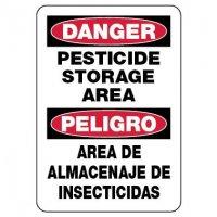 Bilingual Danger Sign: Pesticide Storage Area