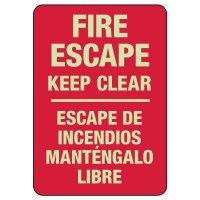 Bilingual Fire Escape Keep Clear Photoluminescent Sign