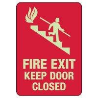 Fire Exit Keep Door Closed Photoluminescent Sign