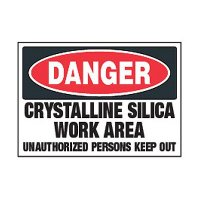Chemical Safety Labels - Danger Crystalline Silica Work Area