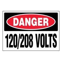 Ultra-Stick Signs - Danger 120/208 Volts