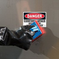 ToughWash® Labels - Danger Confined Space Enter By Permit