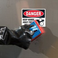 ToughWash® Labels - Keep Hands Away From Rollers (Bilingual)