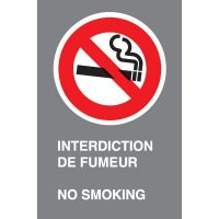 Bilingual CSA Signs - Interdiction De Fumeur No Smoking