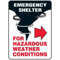 Evacuation & Shelter Signs - Emergency Shelter For Hazardous Weather Conditions (with left or right arrow)