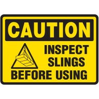 Inspect Slings Before Using - Caution Sign With Symbol