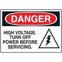 High Voltage Turn off Power Before Servicing Danger Sign
