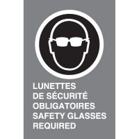 Bilingual CSA Signs - Lunettes De Sucrite Obligatores Safety Glasses Required