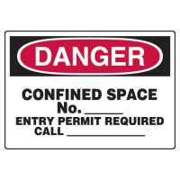 Write-On Confined Space Danger Sign