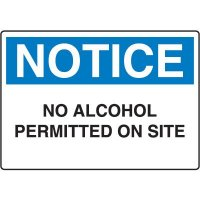 No Alcohol Permitted Notice Sign