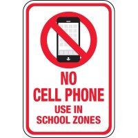 No Cell Phone Use in School Zones Signs