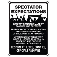 Spectators Expectations - Athletic Facilities Signs