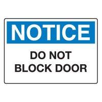 Door, Exit & Security Signs - Do Not Block Door