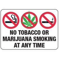 No Smoking Signs - No Tobacco Or Marijuana Smoking