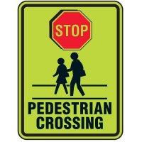 Fluorescent Pedestrian Signs - Stop Pedestrian Crossing
