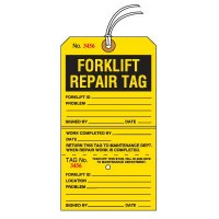 Tear-Off Jumbo Forklift Repair Tags