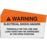 """Warning: Electrical Shock Hazard"" Solar Warning Labels"