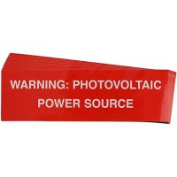 """Warning: Photovoltaic Power Source"" Solar Warning Labels"