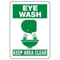 Shower, Eyewash & First Aid Signs - Eye Wash Keep Area Clear