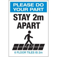 Stay 2M Apart Floor Tiles Portrait Label