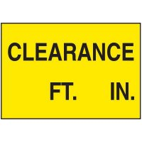 Confined Space Labels - Clearance ___ Ft. ___In.