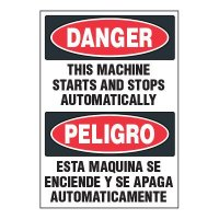 Bilingual ToughWash® Adhesive Signs - Danger Machine Starts