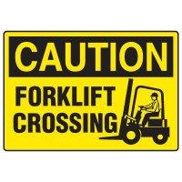 Forklift Safety Signs - Caution Forklift Crossing With Forklift Symbol