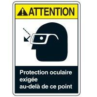 Enseignes de Sécurité - Attention Protection Ocluaire Exigee