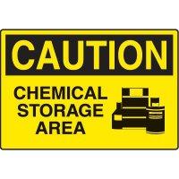 Chemical & HazMat Signs - Caution Chemical Storage Area