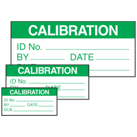 Self-Laminating Labels - Calibration ID No.__By__Date Due__