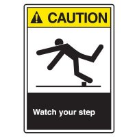 ANSI Z535 Safety Sign - Caution Watch Your Step