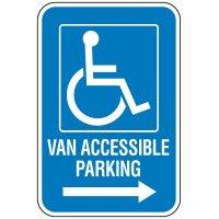 Handicap Van Accessible Parking Sign with Right Arrow