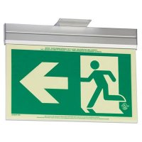 Running Man Graphic with Arrow - 2FC Glo Brite® Exit Signs, Single-Sided