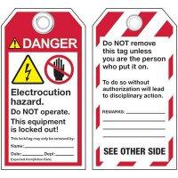 ANSI Electric Hazard Lockout Tags