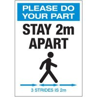 Stay 2M Apart 3 Strides Portrait Label