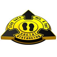 3D Floor Marker - Stay Safe Social Distancing - Yellow
