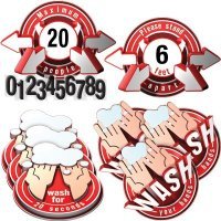 3D Social Distancing Label Kit for Bathrooms - Red