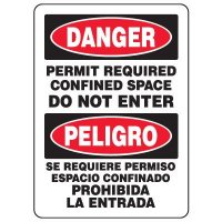 Bilingual Eco-Friendly Signs - Danger Permit Required Confined Space Do Not Enter/ Peligro Se Requiere Permiso Espacio