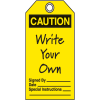 Jumbo Safety Tags - Caution Header Only