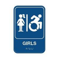 Girls Bathroom Sign - Braille/Accessibility