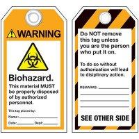 ANSI Biohazard Warning Tags