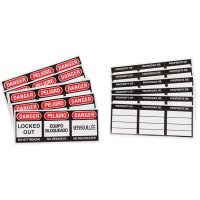 Brady Safety Padlock Vinyl Labels - English Spanish French (51379) - 6PK