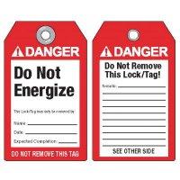 Danger Do Not Energize - ANSI Lockout Tags